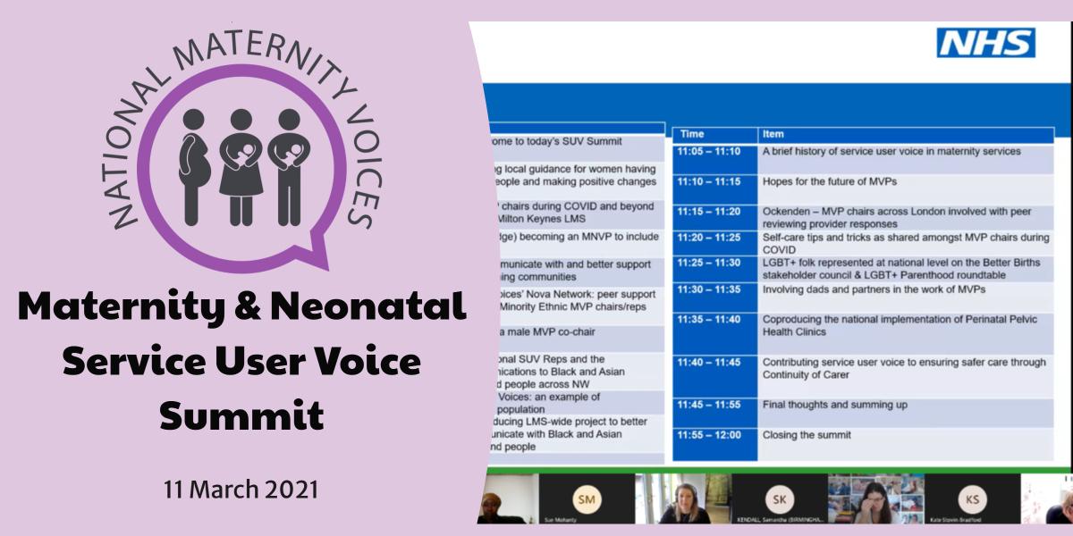 Maternity & Neonatal Service User Voice Summit: 11 March 2021