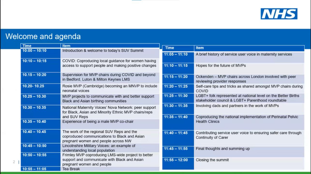 2021 Maternity & Neonatal Service User Voice Summit Agenda